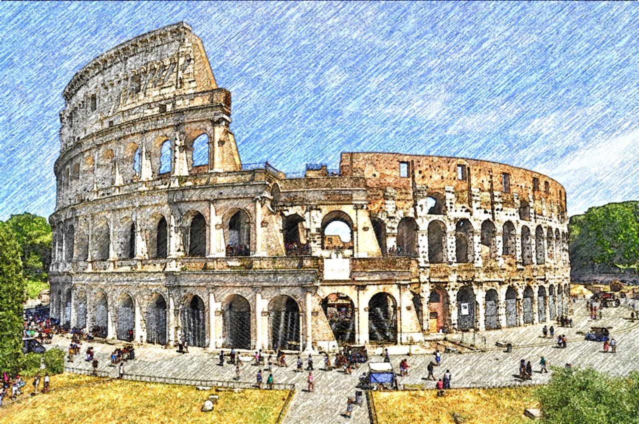 Renzi contro Camusso Colosseo-Roma_FotoSketcher