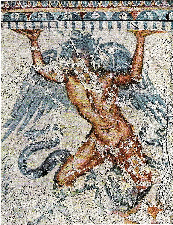 Affresco etrusco raffigurante Tifone. Tomba di Tifone, Tarquinia